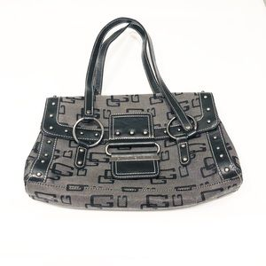 Guess signature shoulder bag in gray and black